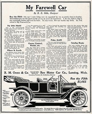 R. E. Olds Reo The Fifth R. M. Owen & Co Agent St. Catharines ON Factory 1912 Ad