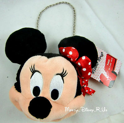 New Disney Store Minnie Mouse Face Plush Purse Hand Bag Chain Kids