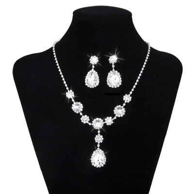 Wedding Party Lady Jewelry Floral Rhinestone Diamante Necklace Earring Set