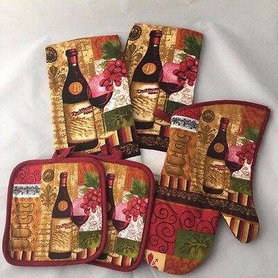 Wine & Grapes 5 PC Kitchen Set with Towels Pot Holders & Oven Mitt Free Shipping