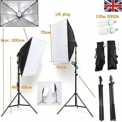 Continuous Photography Studio Soft Box Lighting Softbox Light Stand Kit 2x135W