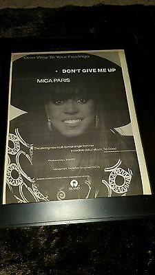 Mica Paris Don't Give Me Up Rare Original Radio Promo Poster Ad Framed!