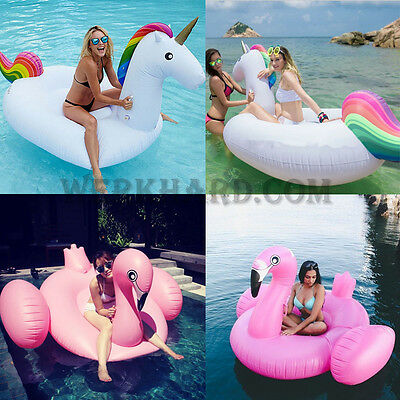 Giant Rainbow Unicorn Pink Flamingo Inflatable Swim Ring Swimming Pool Lake Fun