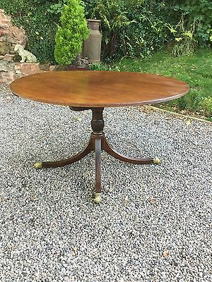Antique Mahogany Tilt Top Oval Tripod Pedestal Dining Table