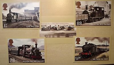 5 postcards - Royal Mail stamps, Steam Railway Locomotives Wales inc Welshpool