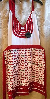Cynthia Rowley DACHSHUND DOG BIB APRON - NWT - Red & White - FREE SHIPPING