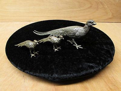3 x Vintage Silver Plated Pheasant Menu / Card / Place Holder ~ Gift, Christmas.