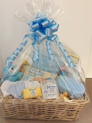 Newborn Baby BOY Gift Basket hamper in BLUE Baby Showers Christening New
