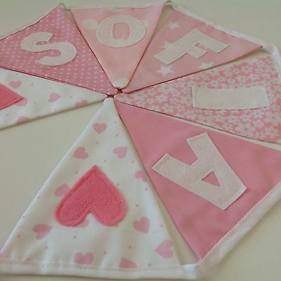 PERSONALISED Handmade BUNTING Banner Baby GIRL Pink W/White letters