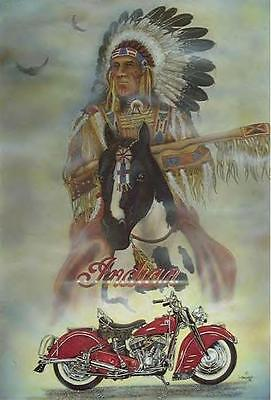 RARE Indian Motorcycle Ad Vintage Poster Photo Biker Ride 4x6 Old Buy Print 1158