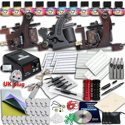 Professional Complete Beginner Tattoo Kit 3 Machine Guns Power Supply 10 Inks UK