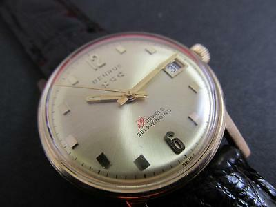 Rare Vintage Automatic 39 Jewel 14k Solid Yellow Gold Benrus Watch 1960's Circa