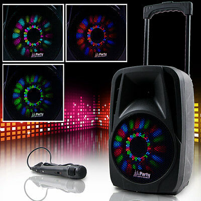 Mobile Beschallungsanlage DJ PA Lautsprecher Bluetooth USB SD MP3 LED Mikrofon