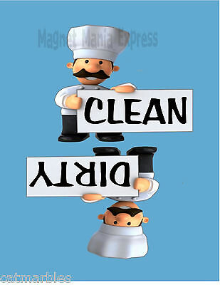 METAL DISHWASHER MAGNET Chef Holding Sign Clean Dirty Dishes Blue Background