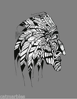 METAL MAGNET Native American Indian Black White Image Of Mask Feathers MAGNET