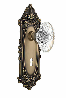 Oval Fluted Crystal Glass Interior Mortise Door Knob with Victorian Plate