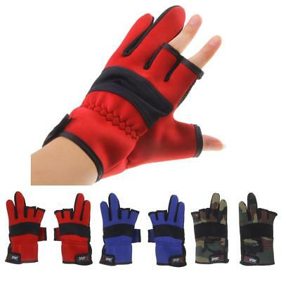 3 Cut Finger Neoprene Soft Fishing Gloves for Fishing Hunting Cycling Riding
