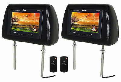 "TVIEW T725PL Universal 7"" Black Headrest TFT LCD Car Monitors + Remotes"