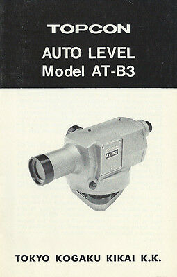 New Topcon Auto Level Model AT-B3 Instruction Manual