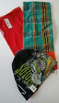 Cool Unique Hat and Infinity Style Scarf Set Gift Reversible Multi Colors Images