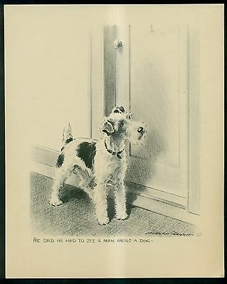 """Vintage Morgan Dennis """"He Said He Had To See A Man About A Dog"""" Terrier Print"""