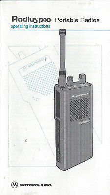 Motorola Radius p10 Portable Radios Operating Instructions Manual