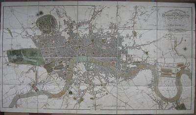 1814 - MOGG - LONDON IN MINIATURE  foldout map on linen with slip case