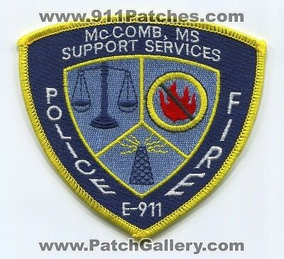 McComb Fire Police Department Support Services Patch Mississippi MS