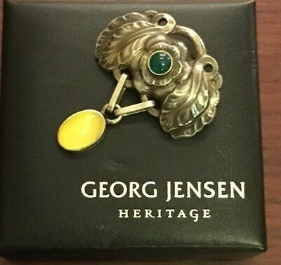 Georg Jensen Rare Agate 2008 Heritage Brooch Mint Denmark Made Boxed