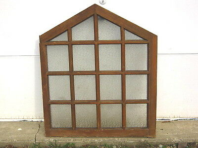 "Vintage Etched Leaded Glass Window 35"" X 29"""