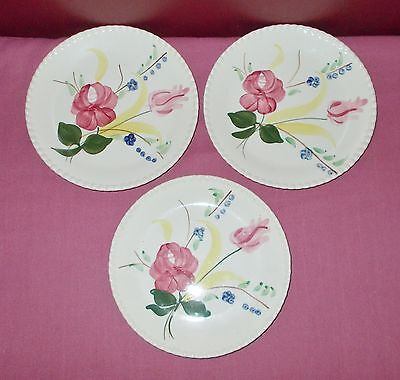 3 Vintage Blue Ridge Southern Potteries SALAD PLATE 7 Inch BLUEBELL BOUQUET