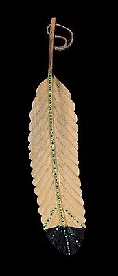 Eagle Feather Hand Painted Chainsaw Carved Feather By Blackfoot Artist RTF