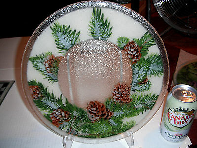 """Peggy Karr Fused Art Glass Plate **NEW  Pine cone 11"""" Plate"""