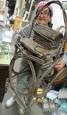 RARE 1850 folk tramp art / Bent Stick tobacco stand / sewing table and log cabin