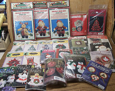 24 NIP Factory SEALED Needlepoint & Craft Kits lot all small CHRISTMAS projects
