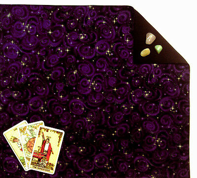 Purple Stars Tarot Cloth or Altar Cloth 18 x 20 inches, fully lined