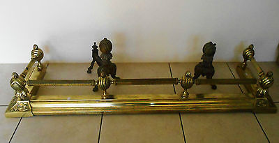 Vintage Brass Fireplace Fender Fire Surround and 2 Fire Dogs