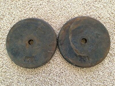 Pair of 25 lb Standard Flat Weights One inch hole, pancake flat 50lbs Total