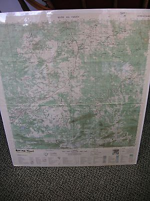 """Vtg Viet Nam Topographical Map Buon Ma Thuot  27.25"""" x 23"""" As Is some creases"""