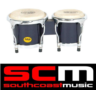 "PERCUSSION 4-5"" inch BLUE MINI BONGO DRUMS PAIR NATURAL SKINS BONGOS NEW IN BOX"