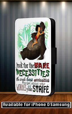 The Jungle Book Bare Necessities Disney Faux Leather Flip Phone Case Cover Y164