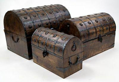 Pirate Chest Wooden Iron Straps Set/3 ~ Pirate Chest ~ Nautical ~ Treasure Chest