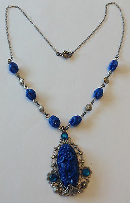 Vintage Art Deco Blue Rhinestone And Molded Floral Pendant Necklace