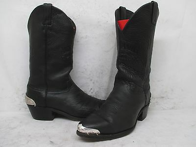 Jack Daniels Black Leather Cowboy Biker Boots Mens Size 10.5 EE Style 8074 USA