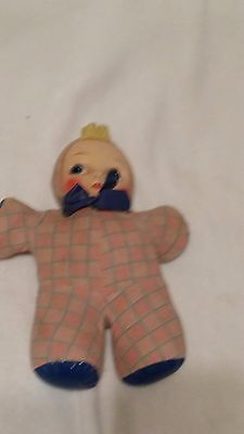 """Vintage antique cloth body plastic face doll used condition needs TLC 13"""" tall"""