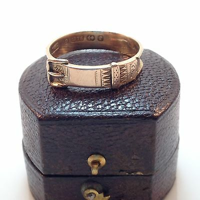 Antique Victorian Buckle 9k Mourning Ring - Sz 8.5