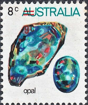 Australia 1974 QEII 9c on 8c Opal with Misplaced Overprint and Doctor Blade MUH