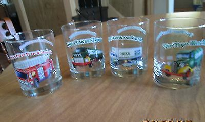 1996 Hess Glasses Set of 4 First Hess Truck Fire Truck Tanker Trailer and Racer
