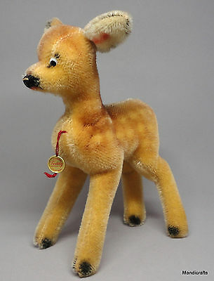 Hermann Fawn Deer Standing Mohair Plush 20cm 8in Swing Tag ID 1960s Glass Eyes