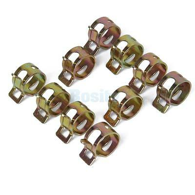 10pcs Spring Clip Fuel Hose Line Water Pipe Air Tube Clamps Fastener Dia.15mm